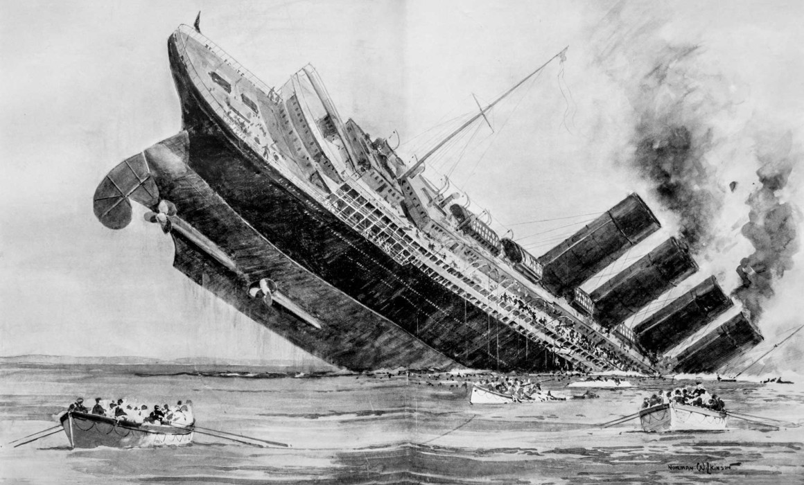 The Titanic sinks